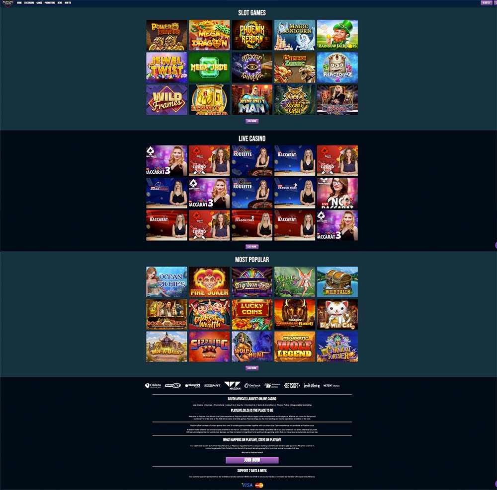 PlayLive Online Casino Look and Feel